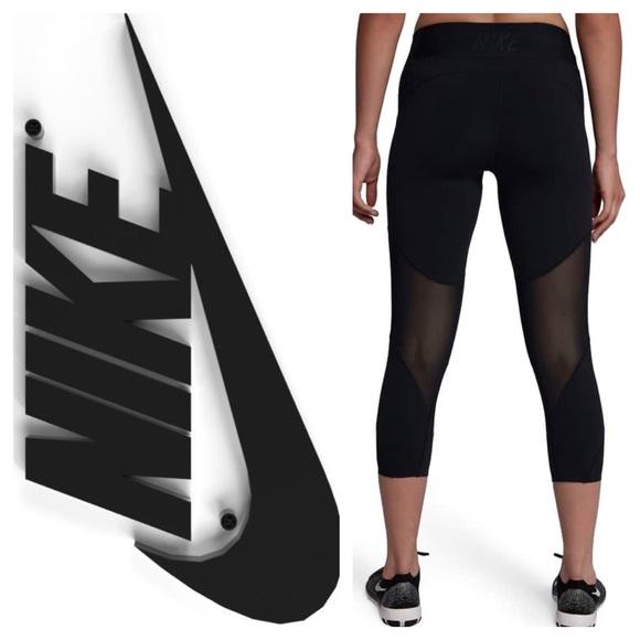 982fed3f5 New Nike Fly Lux Crop Training Tights Black w Mesh